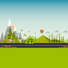 Flat Eco Green City Illustration EPS 10