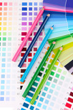 Color samples with pencils close up
