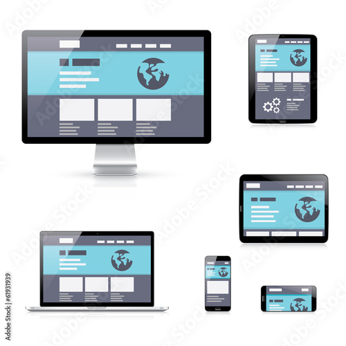 Flat responsive web development vector illustration device icons