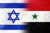 Israel and Syria Flag painted on leather texture