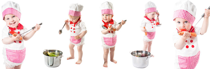 Baby cook girl wearing chef hat with fresh vegetables