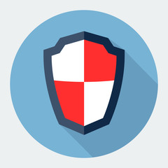 Guardian shield, protection flat icon with long shadow