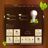 Website design template with wood