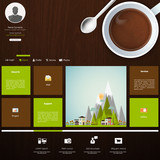 Flat Website Template Green and Coffee theme