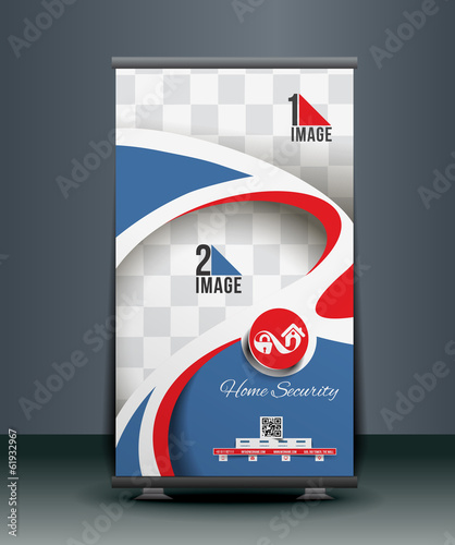 Home Security Center Roll Up Banner Design