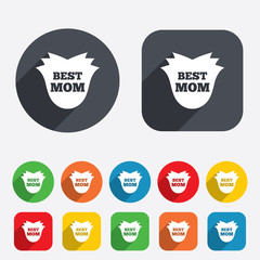 Best mom sign icon. Flower symbol.