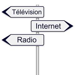 Panneaux indicateurs télévision, internet, radio