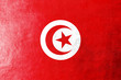 Tunisia Flag painted on leather texture