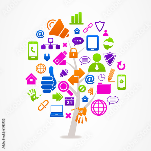 logo business abstract tree icon web