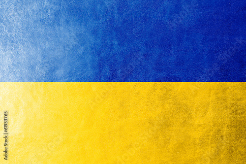 Ukraine Flag painted on leather texture