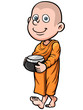 Vector illustration of Cute young monk cartoon