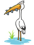 Vector Illustration of Crane Bird eating fish