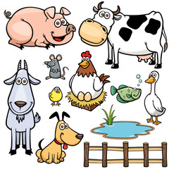 Vector Illustration of Farm Animals cartoon