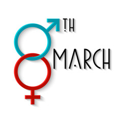Card for Women's day with gender signs