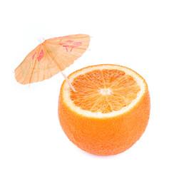 Cut orange with umbrella.