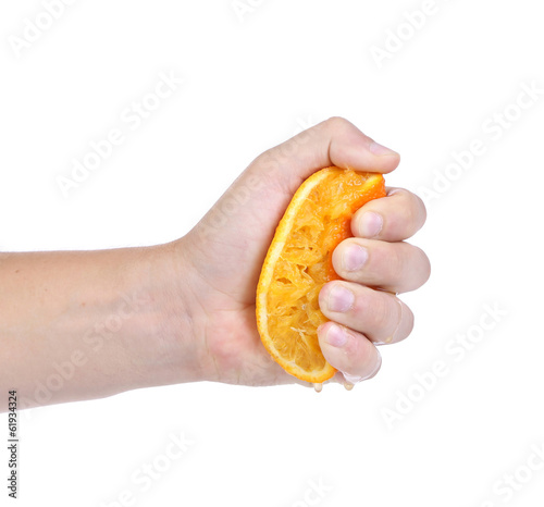 Hand squeezing an orange.