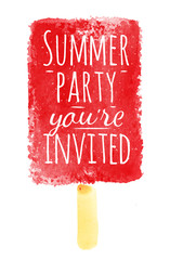 Watercolor ice cream poster with lettering Summer party you're i