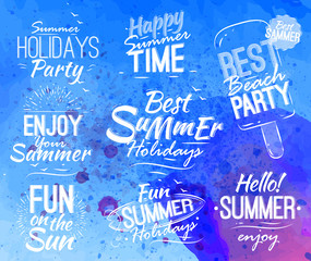 Summer set in retro style in the shape lettering with text, hell