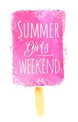 Watercolor ice cream poster with Summer girls weekend styled wat