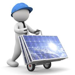 tecnico che trasporta pannelli solari
