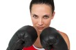 Close-up portrait of a determined female boxer