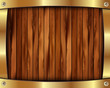 Metallic gold frame on a wooden background 11