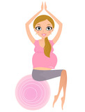 Beautiful Pregnant woman sitting on Pilates exercise ball