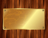 Metallic gold frame on a wooden background 10