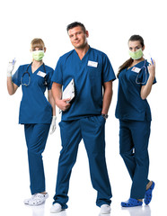 Surgery Team -Doctor, two nurses in blue  dress