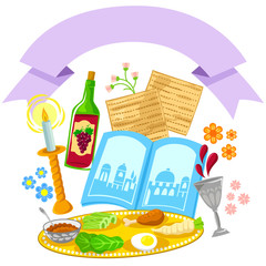 Passover symbols with a blank banner