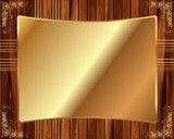 Metallic gold frame on a wooden background 7