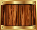 Metallic gold frame on a wooden background 9