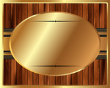Metallic gold frame on a wooden background
