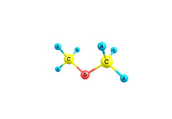 Dimethyl ether molecule illustration isolated on white