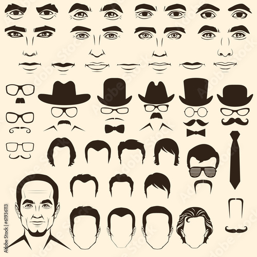 vector men  eye, lips, hair, face parts, head character