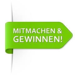 Langer hellgrüner Sticker Pfeil - Mitmachen & Gewinnen