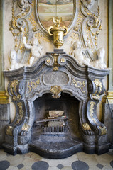 Antique marble fireplace in castle in Ksiaz, Poland