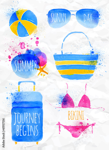 Set of watercolor beach appliances on a crumpled paper.