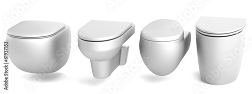 realistic 3d render of toilets
