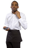 overworked young male waiter on a white background