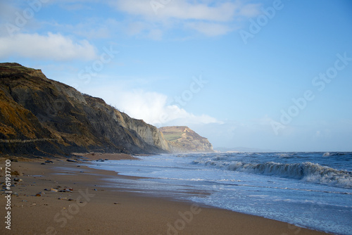 Golden Cap from Charmouth Beach Dorset England
