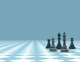 light blue business background with chess figures