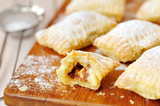 Puff pastry ravioli with chocolate caramel filling