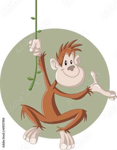 Funny cartoon happy brown monkey