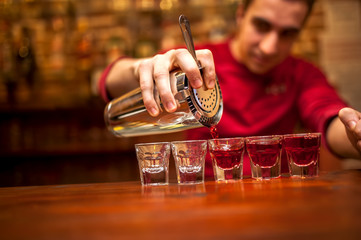 barman with cocktail shaker pouring red alcoholic drink