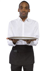 black male waiter carrying a blank tray for composites