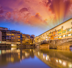 Florence. Arno river and Ponte Vecchio at dusk