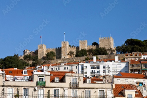 View of the Sao Jorge Castle from the Baixa