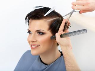 Hair. Hairdresser Cutting Client's Hair in Beauty Salon. Haircut