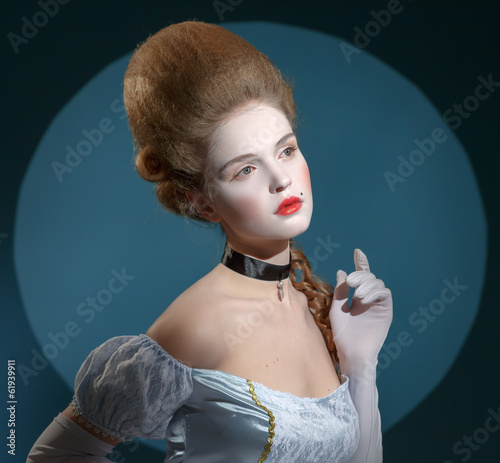 Victotorian lady. Young woman in eighteenth century image